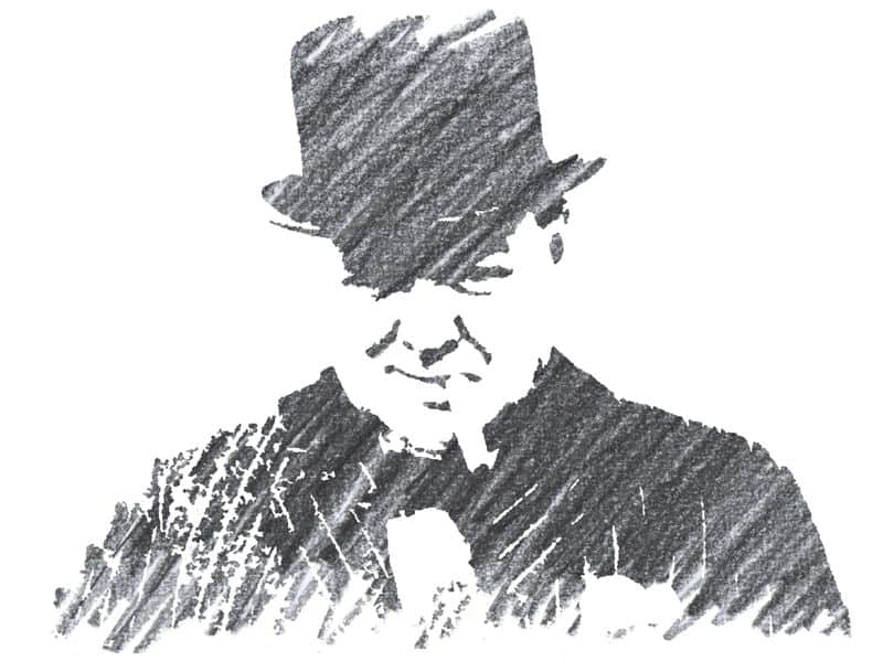 Pencil drawing of Winston Churchill wearing his hat