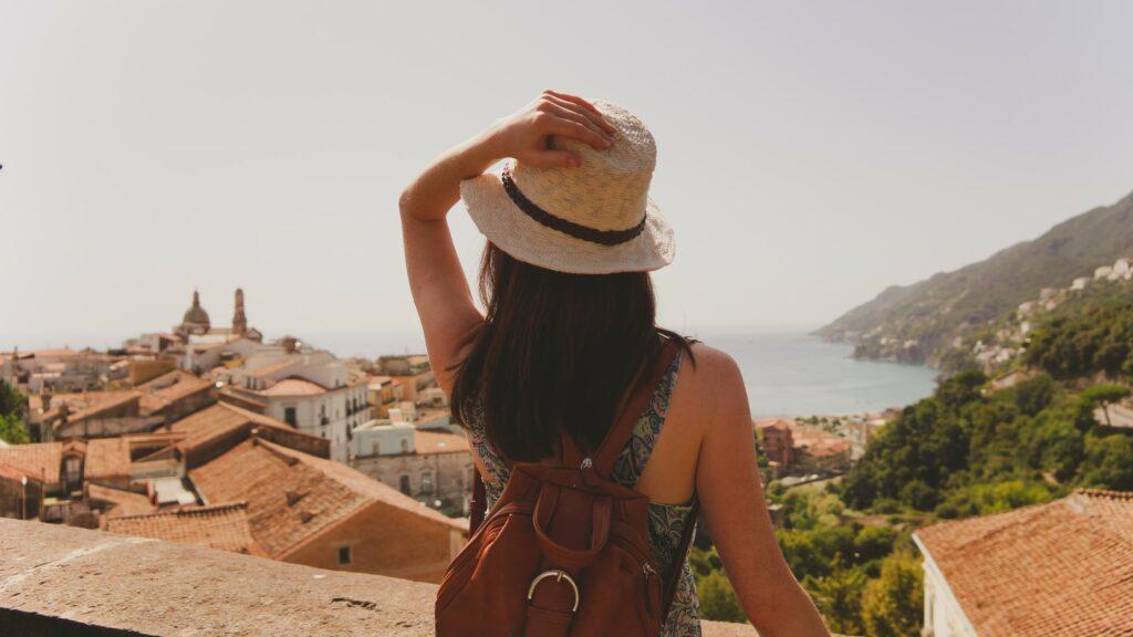 Women wearing hat outside in the sun
