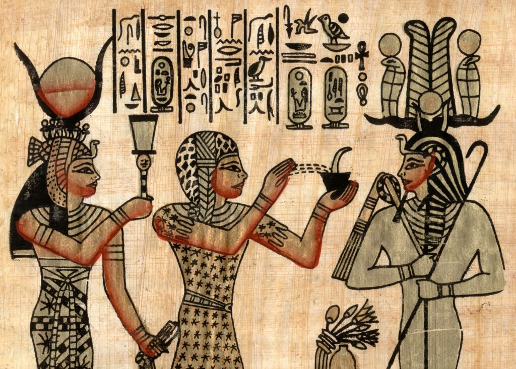 Ancient Egyptian images showing headgear