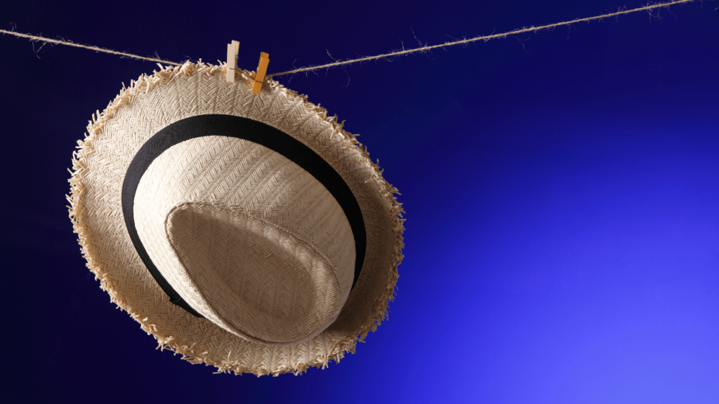 wet hat drying in the sun