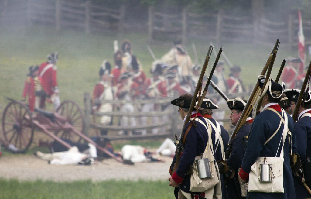American infantry in revolutionary war reenactment