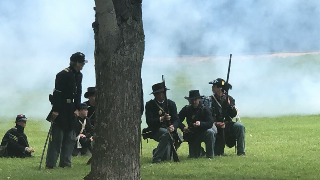 Civil war recreation wearing traditional costumes