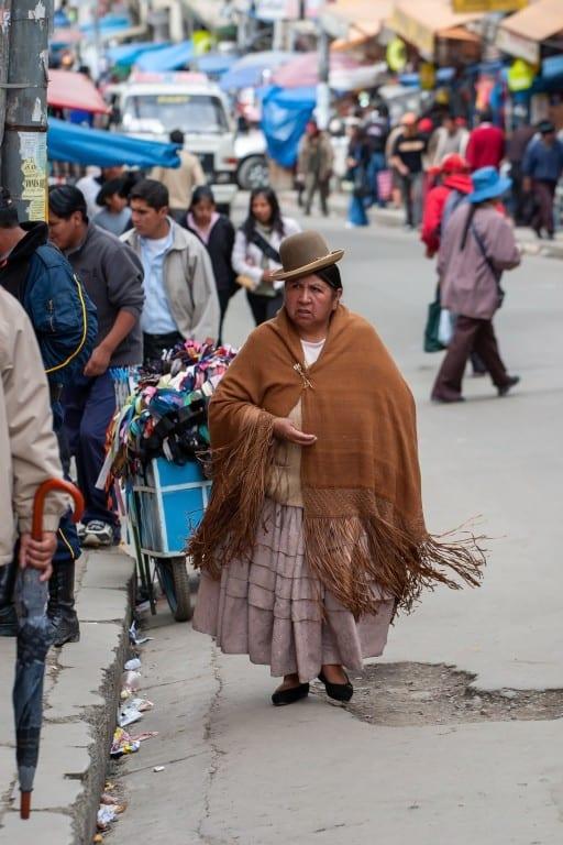 Peruvian women wearing a bowler hat