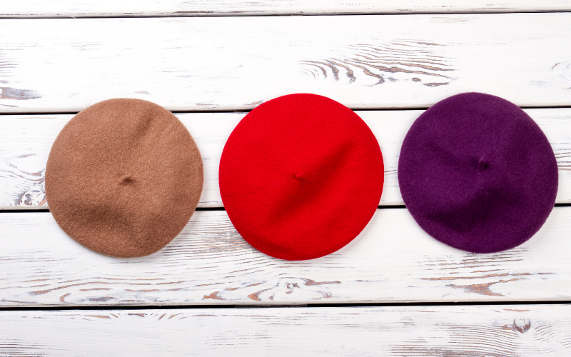 3 colors of French style berets