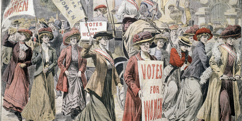 drawing depicting suffragettes marching