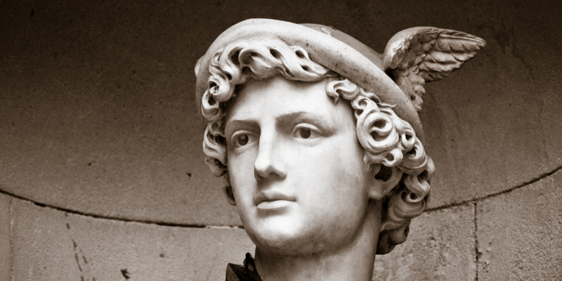 statue of Hermes wearing a