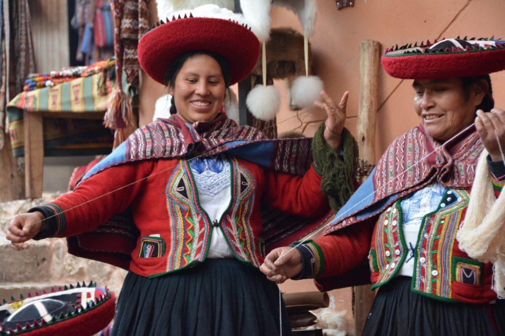 Peruvian women wearing traditional montera hats