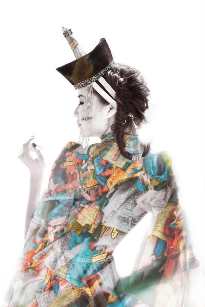 Mongolian woman wearing traditional hat
